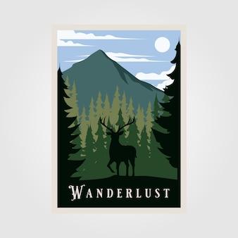 Poster vintage di voglia di viaggiare del parco nazionale