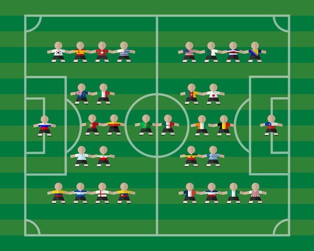 Giocatori della squadra nazionale sul campo di calcio Vettore Premium