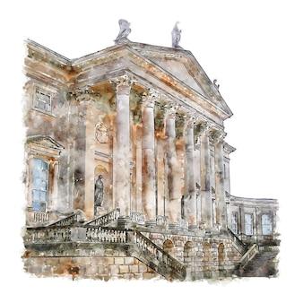 Illustrazione disegnata a mano di schizzo dell'acquerello di national trust kedleston hall inghilterra