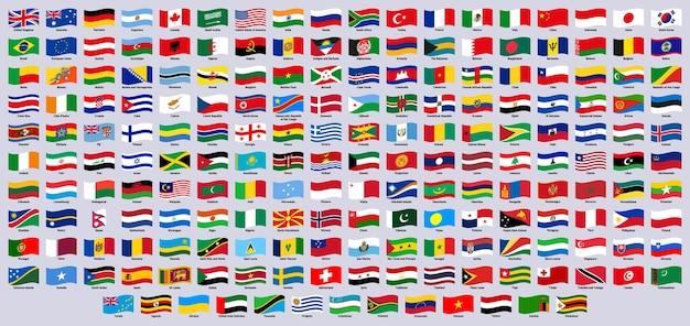 Bandiere nazionali sventolanti paesi del mondo sventolano emblemi ufficiali canada germania giappone e grecia vector