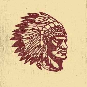 Illustrazione della testa del capo dei nativi americani. elementi per logo, etichetta, emblema, segno. illustrazione