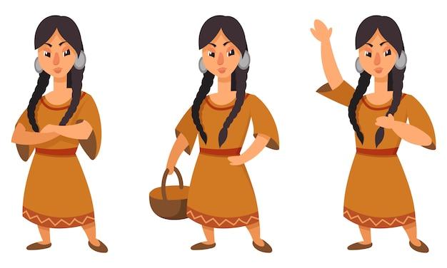 Ragazza nativa americana in diverse pose. personaggio femminile in stile cartone animato.