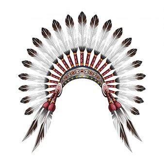 Copricapo indiano nativo americano. copricapo capo tribale indiano rosso con piume. copricapo di piume.