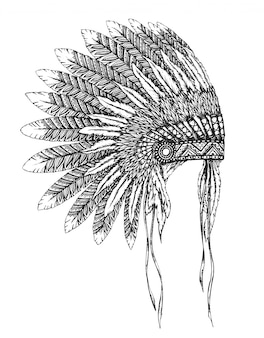 Copricapo indiano nativo americano con piume in stile schizzo.