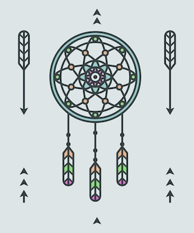 Ornamento indiano del nativo americano con l'illustrazione di vettore degli elementi del deamcatcher e delle frecce