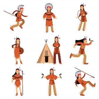 Personaggi indiani nativi americani in abiti tradizionali con armi e altri oggetti culturali dettagliate illustrazioni colorate