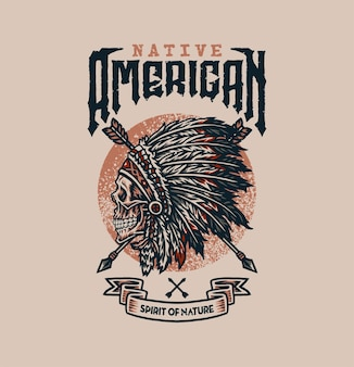 Design grafico della maglietta dei nativi americani, stile della linea disegnata a mano con colore digitale