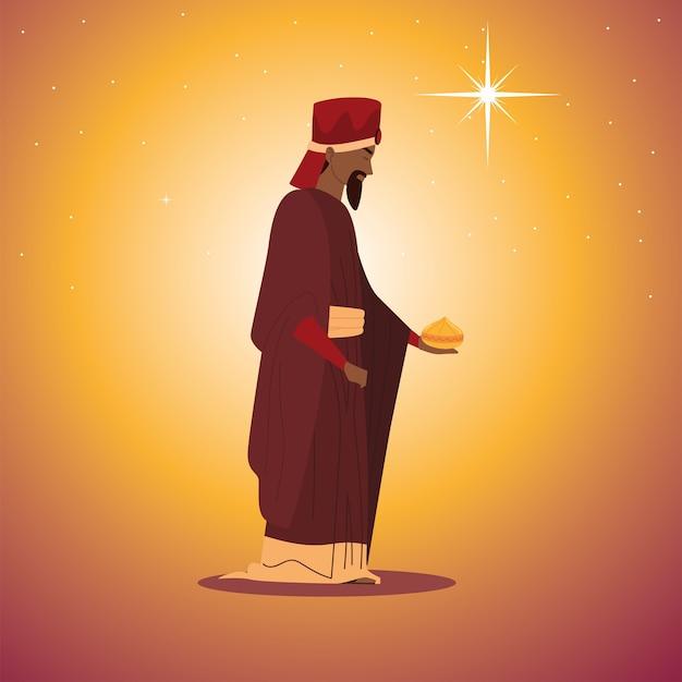 Natività, presepe personaggio re saggio balthazar con regalo per nascita di cristo