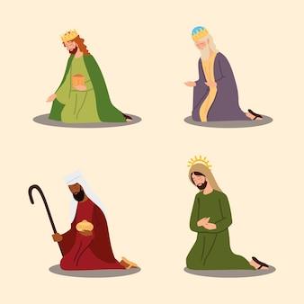 Mangiatoia del fumetto della natività tre re saggi e icone di giuseppe illustrazione vettoriale Vettore Premium