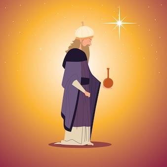 Natività, presepe personaggio gaspare re saggio con regalo per la nascita di cristo
