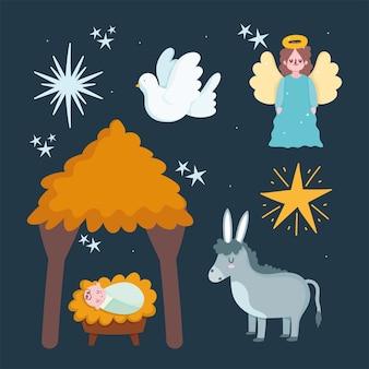 Natività, mangiatoia gesù bambino capanna asino angelo e stella fumetto illustrazione