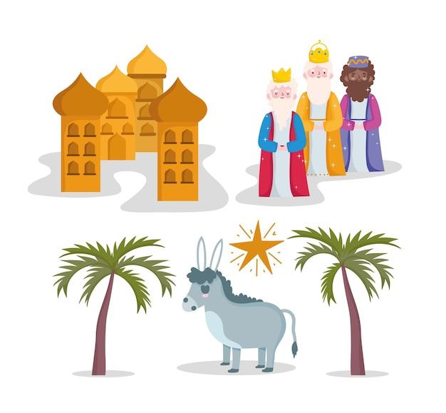 Natività, mangiatoia tre re saggi asino e illustrazione di cartone animato stella