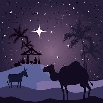 Natività maria giuseppe baby asino e cammello su sfondo viola design, buon natale tema
