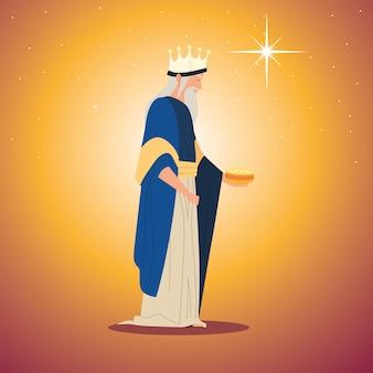 Natività, mangiatoia personaggio re magio melchiorre con regalo per nascita di cristo