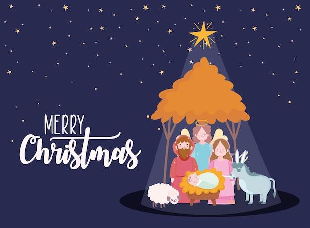 Natività, scena sacra famiglia in capanna con illustrazione di cartone animato mangiatoia notte stella