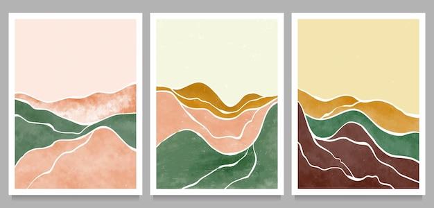 Montagna astratta naturale, foresta, onda sul set. stampa d'arte minimalista moderna di metà secolo. paesaggio estetico contemporaneo astratto.