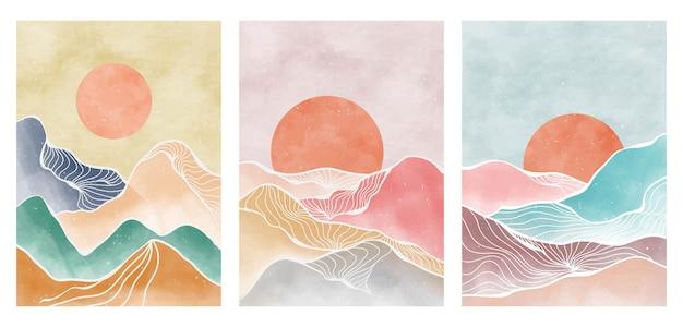 Montagna astratta naturale sul set. stampa d'arte moderna minimalista di metà secolo. paesaggio estetico contemporaneo astratto degli ambiti di provenienza. illustrazioni vettoriali