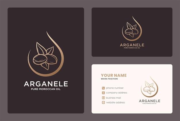 Logo goccia di olio di argan naturale e design del biglietto da visita.