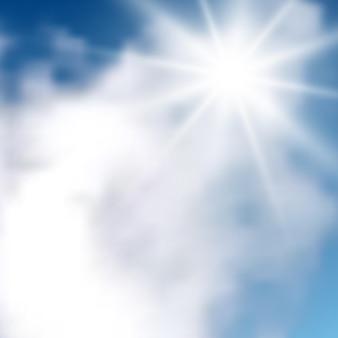 Sfondo naturale con nuvole e sole sul cielo blu. nuvola realistica su sfondo blu. illustrazione vettoriale