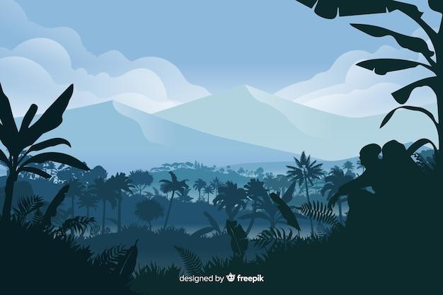 Sfondo naturale con paesaggio forestale