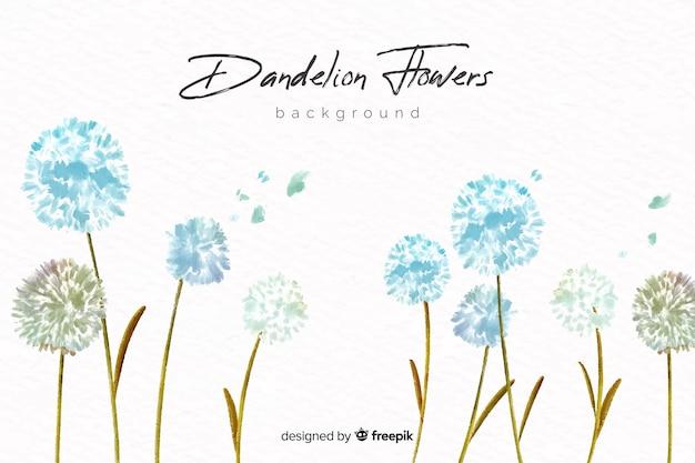 Sfondo naturale con fiori ad acquerelli Vettore Premium