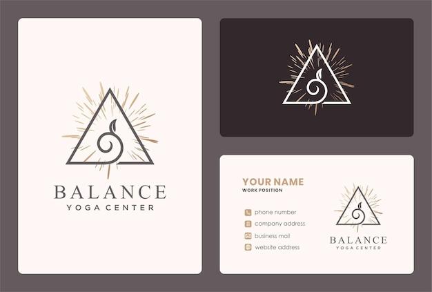 Logo dell'equilibrio naturale per lo yoga, l'assistenza sanitaria.