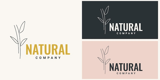 Disegno del modello di illustrazione del logo in bambù naturale