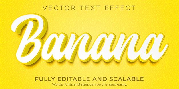 Banana naturale effetto testo modificabile stile di testo fresco e cibo