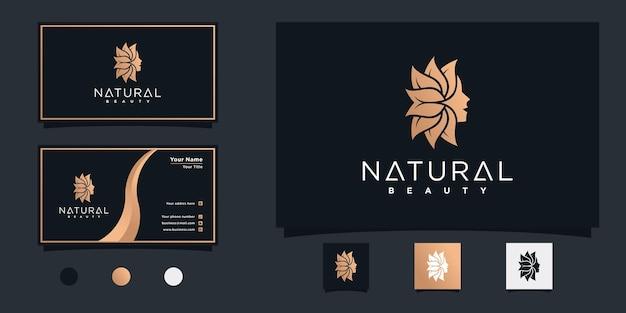 Design del logo del fiore del viso della bella donna naturale con un colore sfumato fresco vettore premium