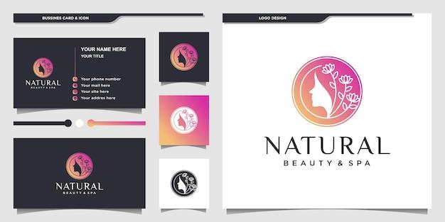 Design del logo del fiore del viso della bella donna naturale con stile moderno sfumato oro vettore premium