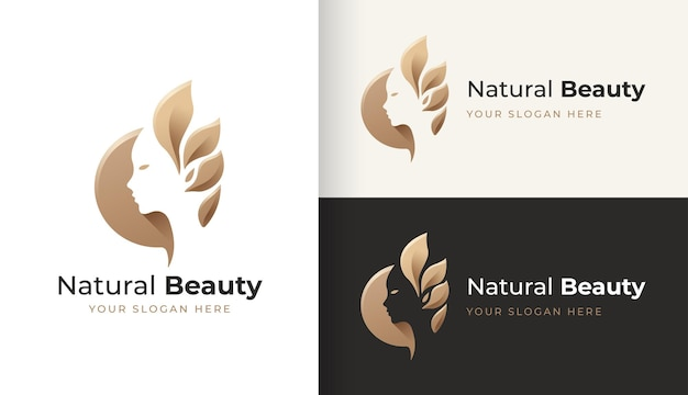 Design del logo del viso di bellezza naturale