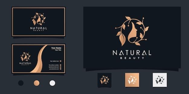 Design del logo della donna di bellezza naturale con concetto combinato di foglie e viso per il salone di bellezza vettore premium
