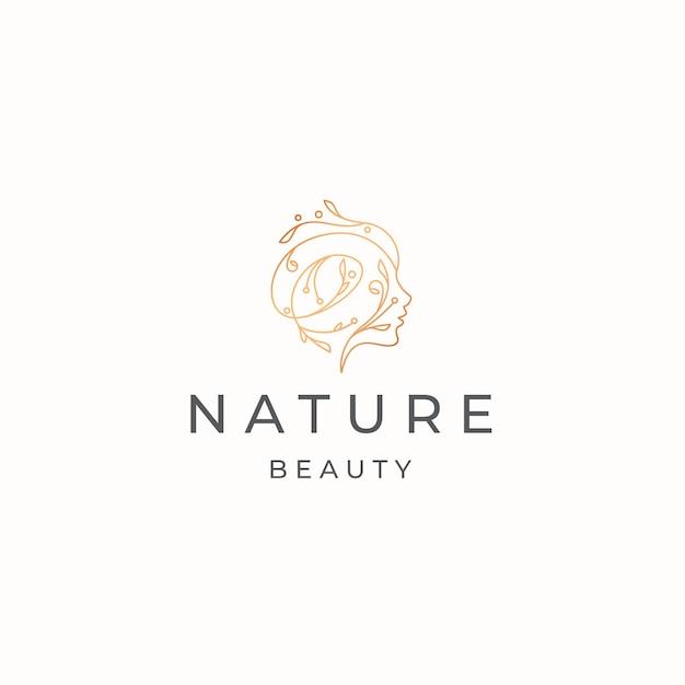 Vettore piano del modello di progettazione dell'icona del logo della donna di bellezza naturale
