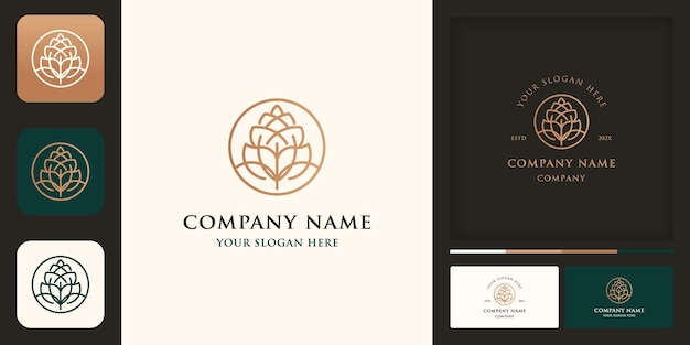 Logo vintage di luppolo da birra naturale, fiore di luppolo