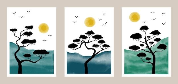 Set da parete botanico naturale con motivo bonsai di elementi ad acquerello