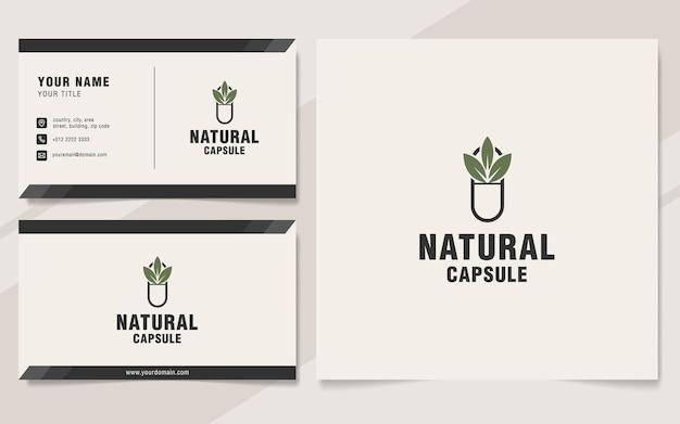 Modello di logo della capsula naturale in stile monogramma