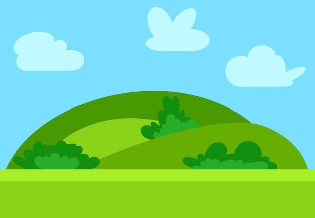 Paesaggio naturale dei cartoni animati in stile piatto con colline verdi, cielo azzurro e nuvole al giorno di sole. illustrazione vettoriale
