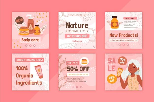 Post instagram per la cura del corpo di cosmetici naturali
