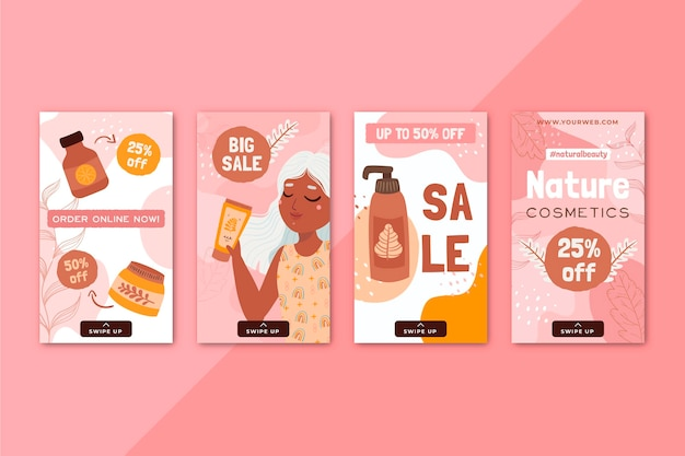 Storie di instagram per la cura del corpo di cosmetici naturali