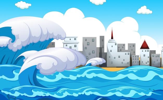 Tsunami della scena di disastro naturale