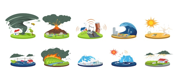 Insieme dell'illustrazione del fumetto di disastri naturali. condizioni meteorologiche estreme. catastrofe, cataclisma. alluvione, valanga, uragano. terremoto, tsunami. calamità di colore piatto isolate su bianco