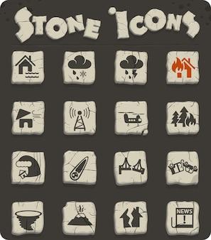 Icone web di disastri naturali per la progettazione dell'interfaccia utente