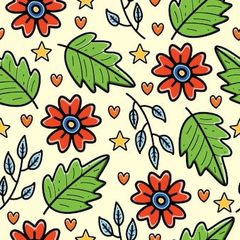 Naturale doodle cartoon seamless pattern design