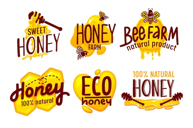 Etichette e tag di imballaggio di miele di fattoria naturale ed ecologica insieme isolato su priorità bassa bianca