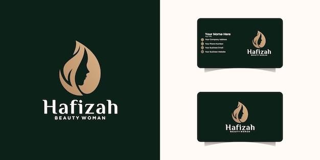 Modello di progettazione di logo di bellezza femminile naturale e biglietto da visita