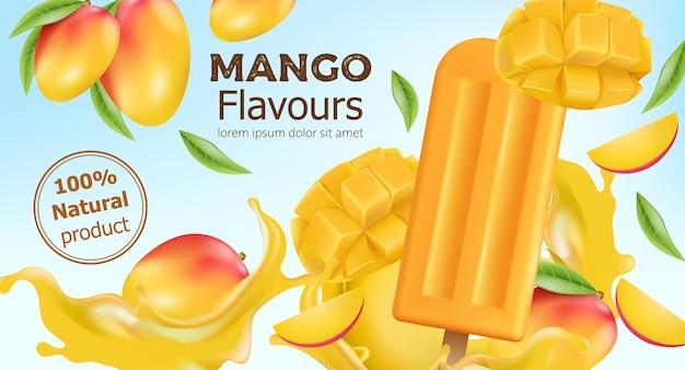 Ghiacciolo al mango aromatizzato al naturale circondato da frutta intera e tagliata e succo che scorre. posto per il testo. realistico