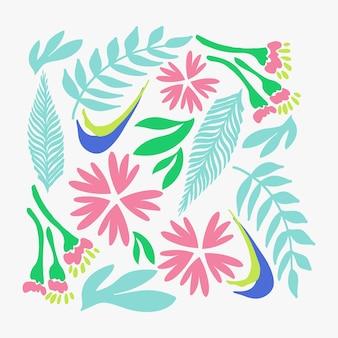 Motivo floreale naturale fiori rosa astratti e foglie verdi su sfondo bianco