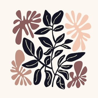Motivo floreale naturale forme astratte e foglie sfondo bianco disegno a mano