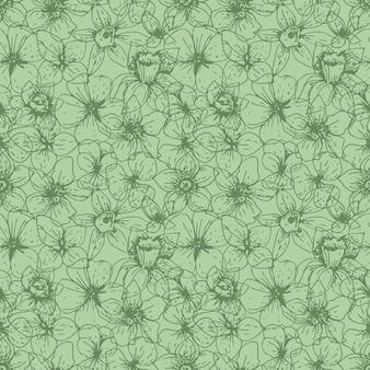 Fiori lineari del modello floreale naturale sul verde