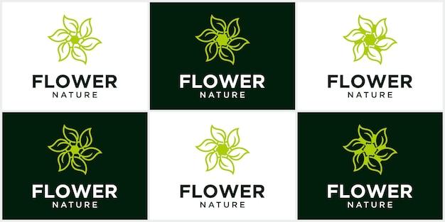 Fiore naturale salute foglia logo cerchio creativo concetto logo design salute foglia logo modello